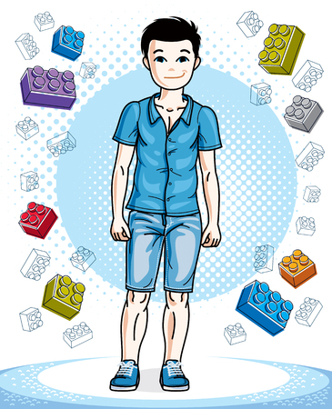Cute little teen boy standing in stylish casual clothes. Vector attractive kid illustration. Fashion theme clipart.