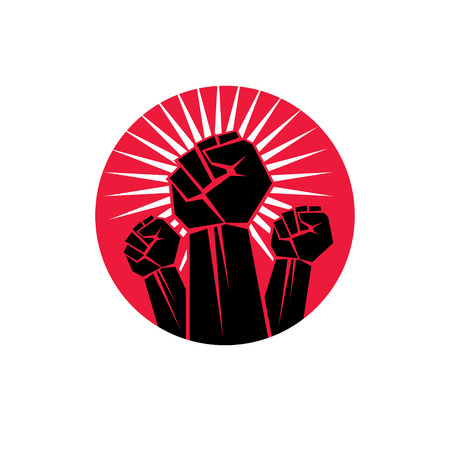 raise hand: Vector symbol made with raised arm of a muscular male. Power and authority conceptual logo.