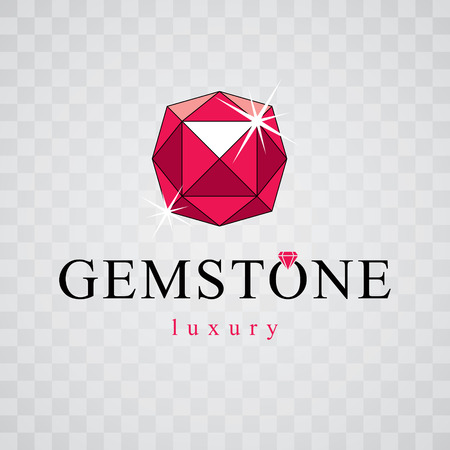 expensive: Vector glossy red ruby. Luxury diamond sign emblem, logo. Brilliant jewelry illustration.