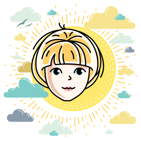 Beautiful women face, human head. Vector character, attractive blonde lady face features.