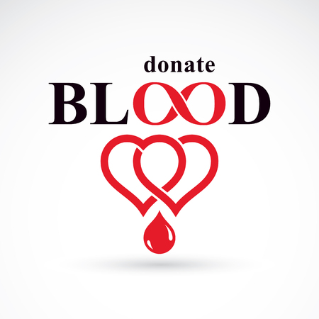 Donate blood inscription isolated on white and made using vector red blood drops, heart shape and infinity symbol. Save life conceptual graphic illustration. Medical care symbol.
