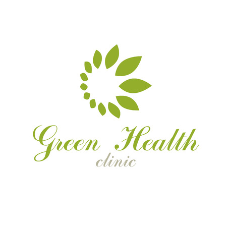 Green leaves isolated on white background. Living in harmony with nature concept, green health idea vector logo.