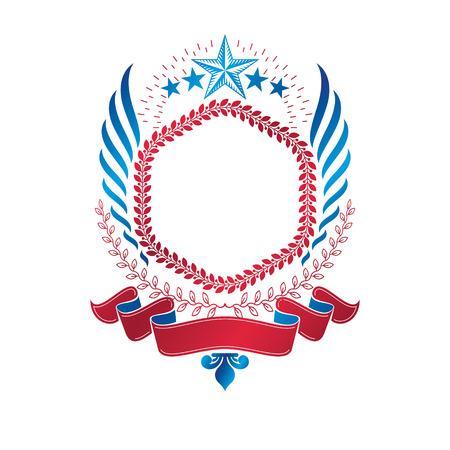 Emblème ailé graphique composé d'une étoile ancienne et d'une couronne de laurier. Élément de conception de vecteur héraldique. Étiquette de style rétro, logo héraldique. Banque d'images - 84009489