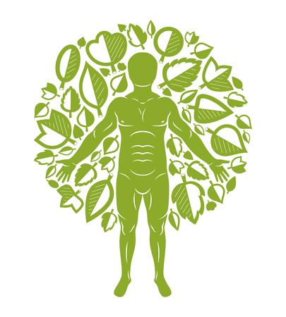 흰색 배경에 서 자연 녹색 잎을 사용 하여 만든 인간의 벡터 일러스트 레이 션. 그린만, 이교도의 은유.