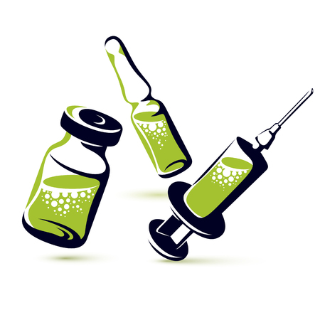 Vector graphic illustration of vial, ampoule with medicine and medical syringe for injections. Scheduled vaccination theme. Illustration