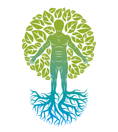 Vector illustration of human, athlete created as continuation of tree with strong roots and surrounded by eco green leaves. Environmental conservation theme, green innovation metaphor.