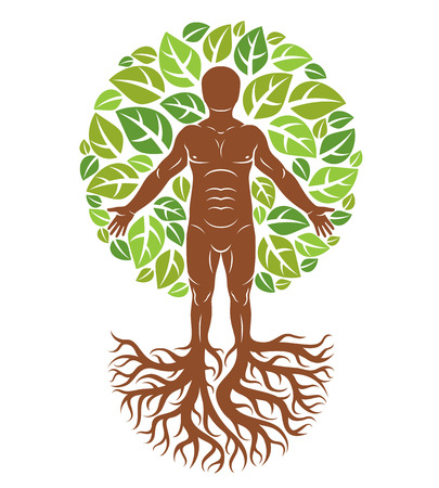 Vector illustration of human being created as continuation of tree with strong roots and composed using natural green tree corona with leaves. Greenman, pagan god metaphor. Stock Vector - 83915629