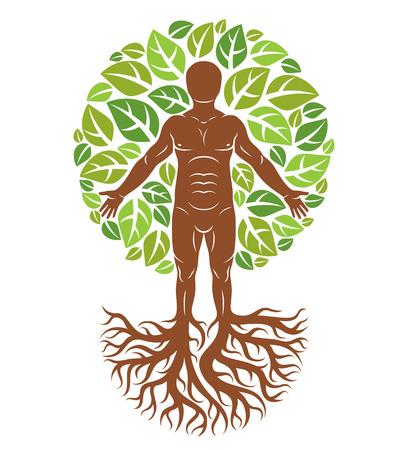 Vector la ilustración del ser humano creado como continuación del árbol con raíces fuertes y compuso usando la corona natural del árbol verde con las hojas. Greenman, metáfora del dios pagano. Foto de archivo - 83915629