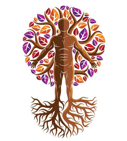 Vector graphic illustration of muscular human, self made using tree roots and surrounded with autumn leaves. Living in harmony with nature, environment protection concept.