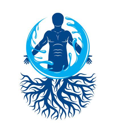 근육 남자, 나무 뿌리를 사용 하여 만들고 물 공에 둘러싸여의 벡터 그래픽 일러스트 레이 션. 인간의 물은 은유를 보유합니다.
