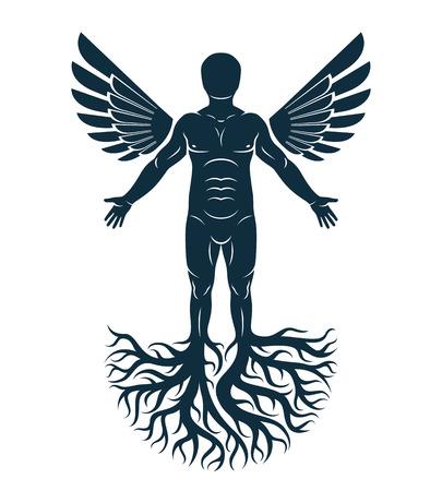 벡터 근육 남자, 자기 예술 그래픽 그림. 성격의 성장과 발달의 상징으로서 강한 뿌리와 천사 날개. 일러스트