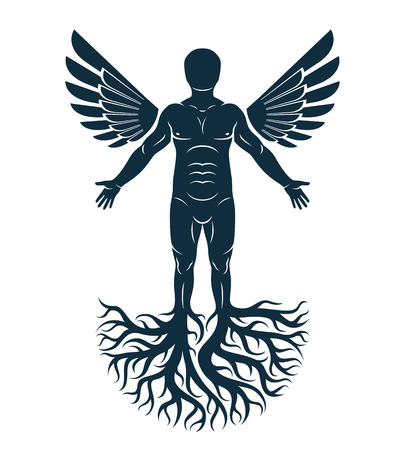 Vector artistic graphic illustration of muscular human, self. Strong roots and angel wings as symbol of personality growth and development. Illustration
