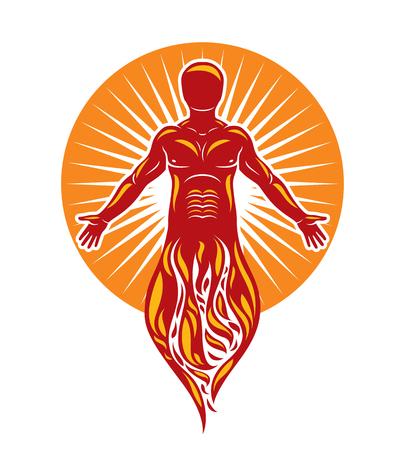근육 인간, 자기의 벡터 그래픽 일러스트 레이 션. 태양 신 불타는 ra, 신비한 고대의 신의 은유. 일러스트