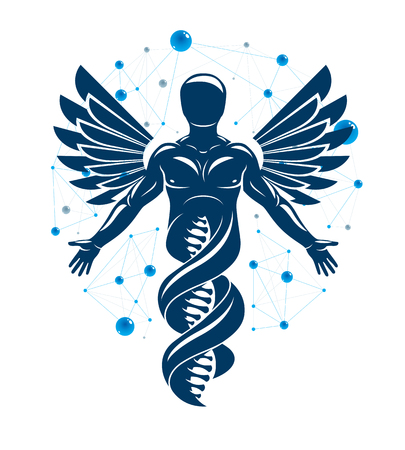 Vector graphic illustration of strong male depicted as DNA strands continuation and created with wireframe connections and bird wings. Biomedical engineering concept.