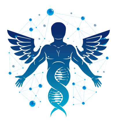 Vector illustration of strong male made as DNA symbol continuation and created with bird wings. Molecular genetics. Illustration