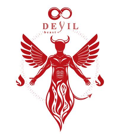 Vector individuele, mystieke karakter gemaakt met vleugels en uit vuur. Demonische helse schepsel, gehoornde slechte Lucifer. Stockfoto - 83918915