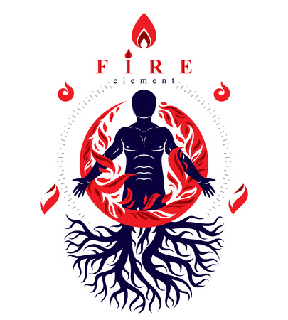 Vector illustration of athletic man composed with tree roots, fire person as bunch of the powerful energy covered with a fireball. Stock Vector - 83918914