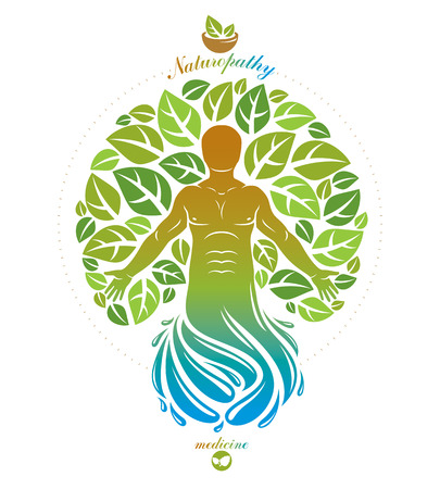 Vector illustration of individual, mystic character depicted as continuation of tree and deriving from water whirlpool. Medical rehabilitation metaphor.