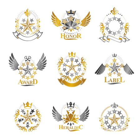 five star: Pentagonal Stars emblems set. Heraldic Coat of Arms, vintage vector logos collection.