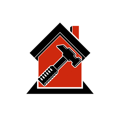 Classic mallet vector icon, industrial utensil. Simple house with work tools, workshop. Home reconstruction idea, for use in web and graphic design.