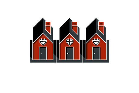Simple cottages with heart symbo, love and romance idea. Houses vector illustration. Illustration
