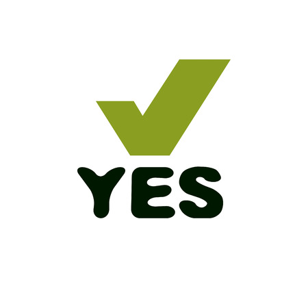 Vector green checkbox with yes word. Confirmation symbol isolated on white.