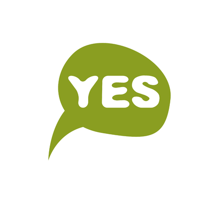 Green checkmark with yes word, approved. Vector verify sign isolated on white.