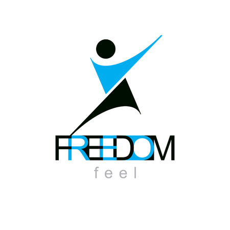 Vector illustration of excited abstract person with raised hands up. Liberty conceptual icon. Happiness metaphor emblem. Business innovation idea creative logotype.