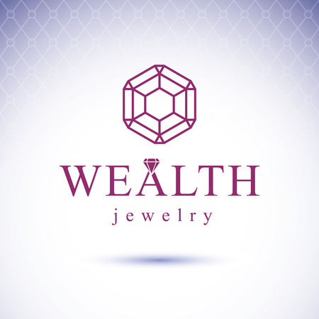 expensive: Vector luxury faceted decorative element. Glossy diamond sign emblem. Brilliant jewelry illustration.