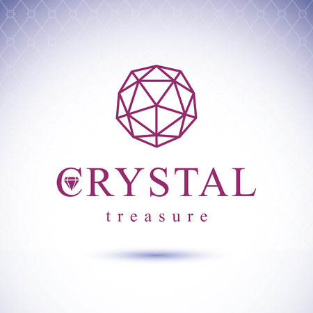 glass reflection: Vector faceted gemstone illustration with sparkles, polygonal. Brilliant jewelry sign emblem, logo. Illustration