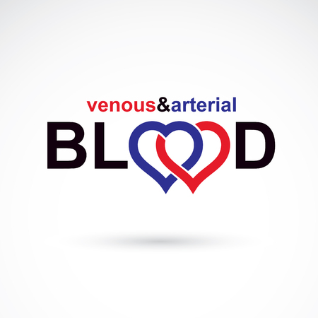 venous: Arterial and venous blood, blood circulation conceptual vector illustration. Cardiology medical care vector emblem for use in pharmacy.