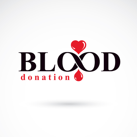 blood transfer: Blood donation conceptual illustration. World blood donor day logotype.