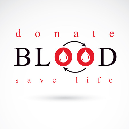 blood transfer: Blood donation vector symbol created with red blood drops and circulation arrows. Volunteer donorship, healthcare and medical treatment conceptual logo. Illustration