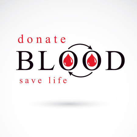 Blood donation vector symbol created with red blood drops and arrows. Blood transfusion metaphor, medical care emblem.