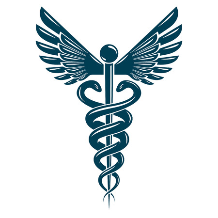 Set Of Vector Caduceus Symbols Created Using Bird Wings And Snakes