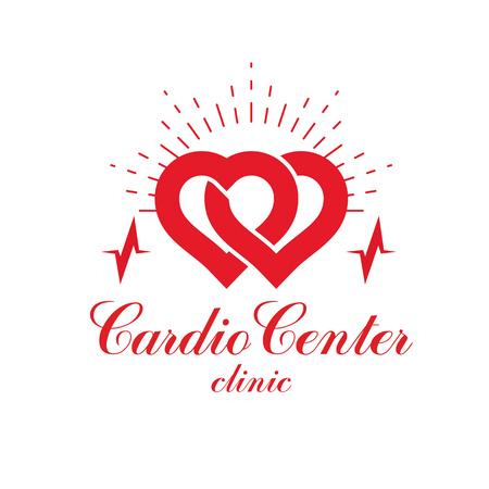 electrocardiograma: Logotipo conceptual del vector de la cardiología creado con la forma roja del corazón y una carta del ecg. Concepto de tratamiento de enfermedades cardiovasculares para su uso como emblema del centro de cardio. Vectores