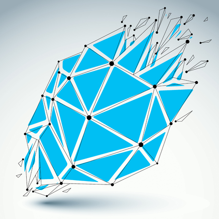 splinter: Perspective technology demolished shape with black lines and dots connected, polygonal blue wireframe object. Explosion effect, abstract faceted element cracked into multiple fragments.