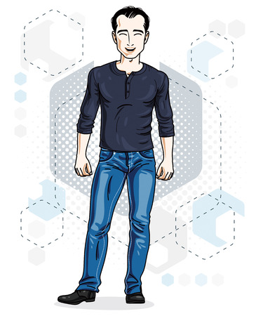 athletic wear: Happy brunet young adult man standing. Vector character wearing casual clothes like jeans and sweatshirt. Illustration