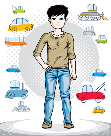 school age: Beautiful little boy cute child standing in stylish casual clothes. Vector human illustration. Fashion theme clipart. Childhood lifestyle cartoon. Illustration