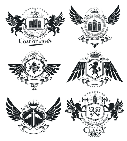 citadel: Heraldic signs, elements, heraldry emblems, insignias, signs, vectors. Classy high quality symbolic illustrations collection, vector set. Illustration