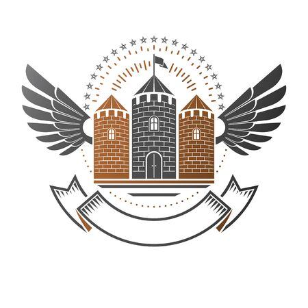 Ancient Citadel emblem. Heraldic vector design element. Retro style label, heraldry logo.