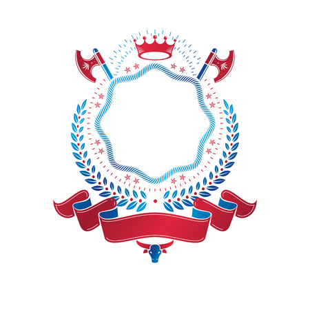 Graphic emblem composed with royal crown element, axes and luxury ribbon. Heraldic Coat of Arms decorative logo isolated vector illustration.
