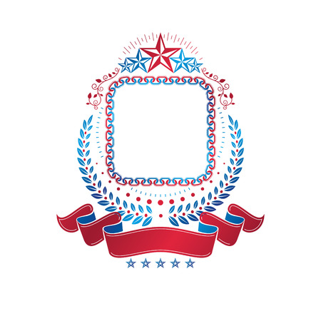 Graphic emblem created with blank copy space and different elements like star and ribbon. Illustration
