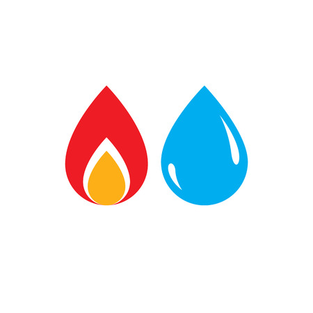 Combination of water and fire elements abstract logo, nature power.