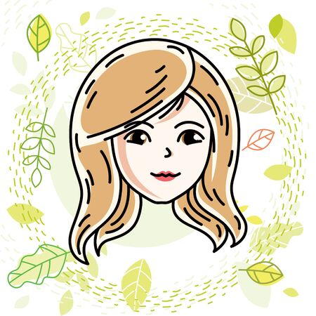 Vector illustration of beautiful blonde female face, positive face features, spring theme clipart.