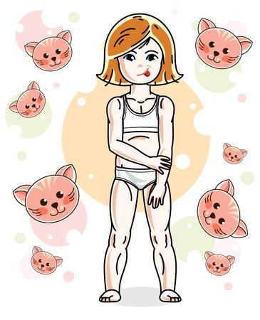 Jolie petite fille rousse en sous-vêtements debout sur fond d & # 39 ; animaux . jolie illustration mignonne vecteur mignon Banque d'images - 84700076