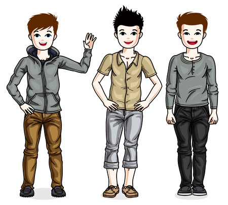 Happy young teenager boys posing in stylish casual clothes. Vector set of beautiful kids illustrations.