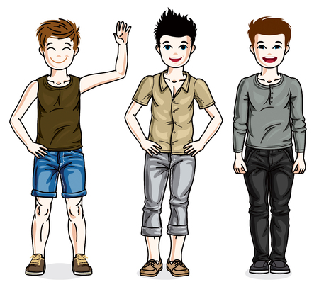 Happy young teenager boys posing wearing fashionable casual clothes. set of beautiful kids illustrations. Childhood and family lifestyle cartoons. Illustration