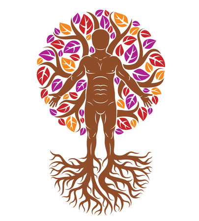 Athletic man created as continuation of tree with strong roots and organic autumn leaves.