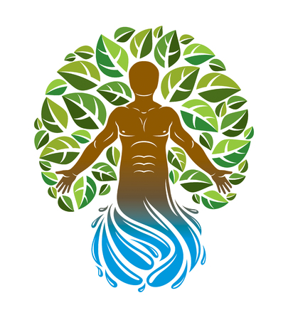 Vector graphic illustration of strong male, body silhouette emerging from water splash and surrounded with green leaves. Eco friendly living, human and nature harmony concept. Vettoriali